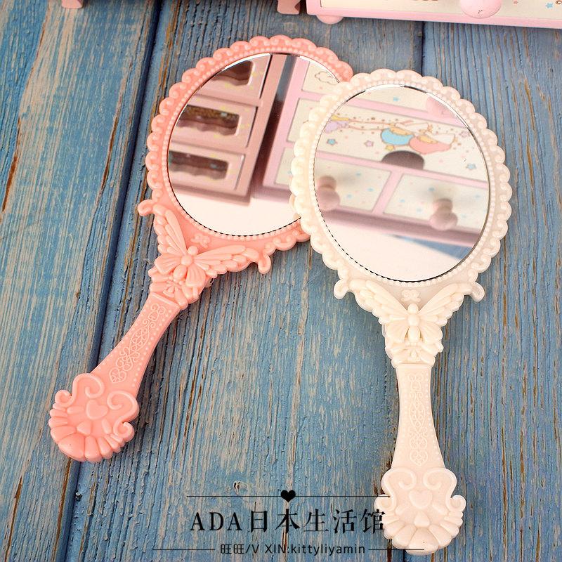 日本DAISO大創薔薇花鏡子少女系 風格可立式檯面鏡化妝鏡隨身攜帶