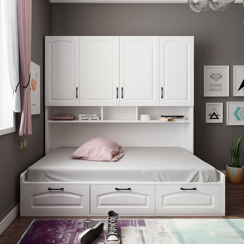 1.2米儿童床榻榻米一体组合套装 单人卧室带衣柜侧柜床多功能家具