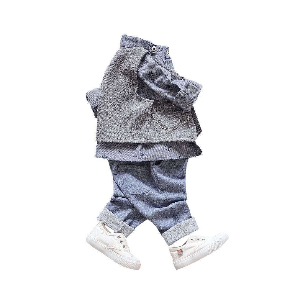 宝宝春装套装男1-3岁潮小童4婴儿秋季三件套2长袖衬衣服马甲韩版0