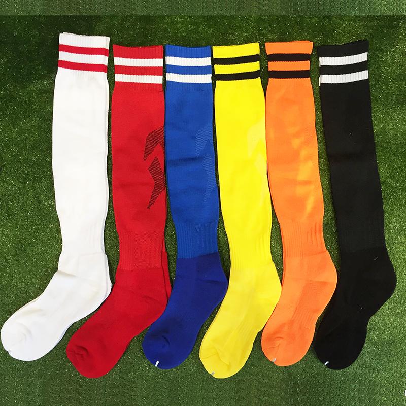 兒童成人足球襪白色藍色黑色紅色橘色純色長棉襪加厚毛巾底球襪