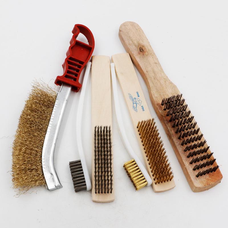 钢丝刀刷镀铜除锈刷刀型钢丝刷子纯铜牙刷缝隙清洁刷塑料柄铁刷子