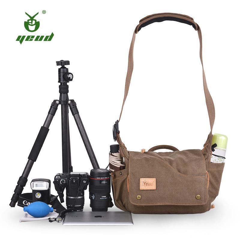 单反相机包单肩专业摄影包防水尼康佳能相机包索尼微单斜跨帆布包