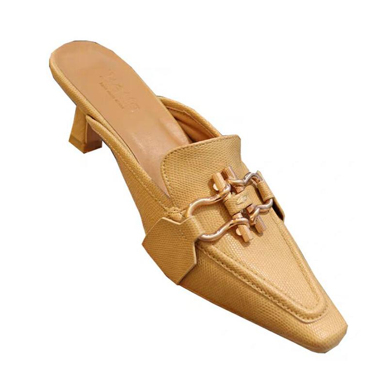 新款金属扣中跟包头半拖鞋女 2020 韩国东大门个姓穆勒鞋女方头细跟