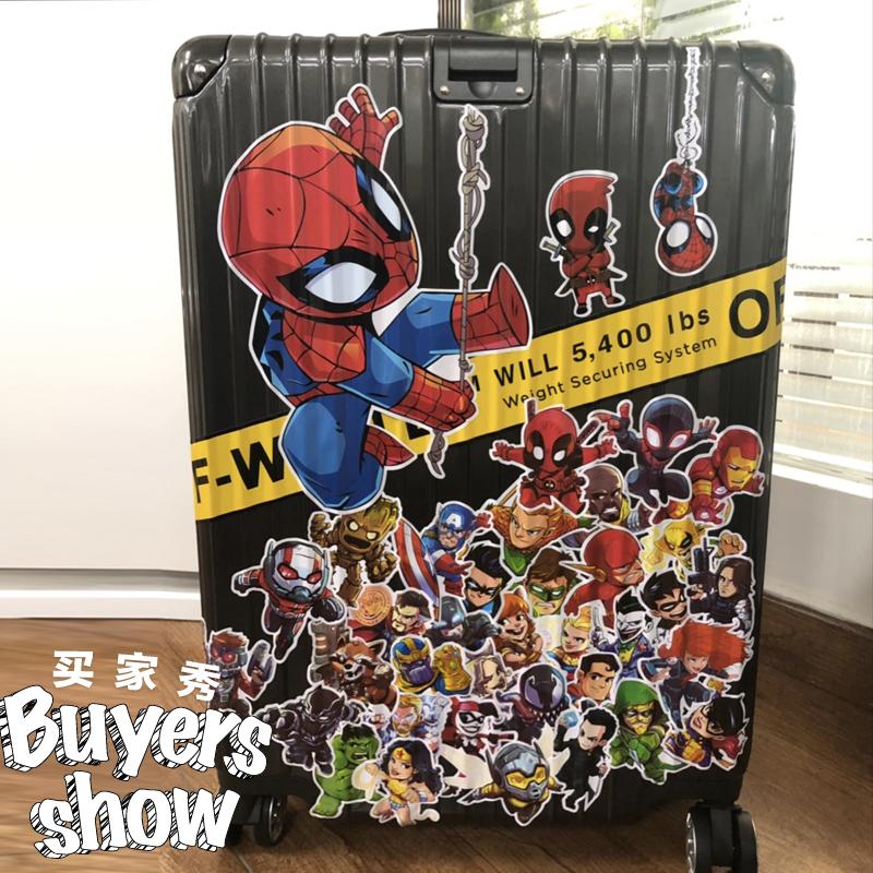 4張一組英雄系列行李箱貼紙筆記本吉他冰箱貼旅行箱子防水機箱貼