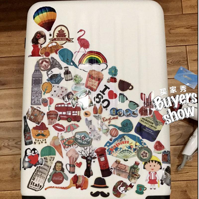 5張一組彩虹色行李箱貼紙卡通筆記本電腦旅行箱貼吉他冰箱貼防水