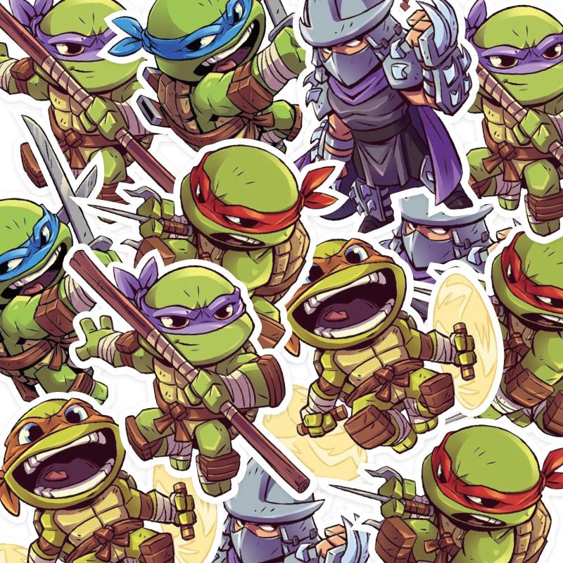 5张一组忍者神龟贴画卡通动漫旅行箱行李箱贴纸笔记本电脑冰箱贴