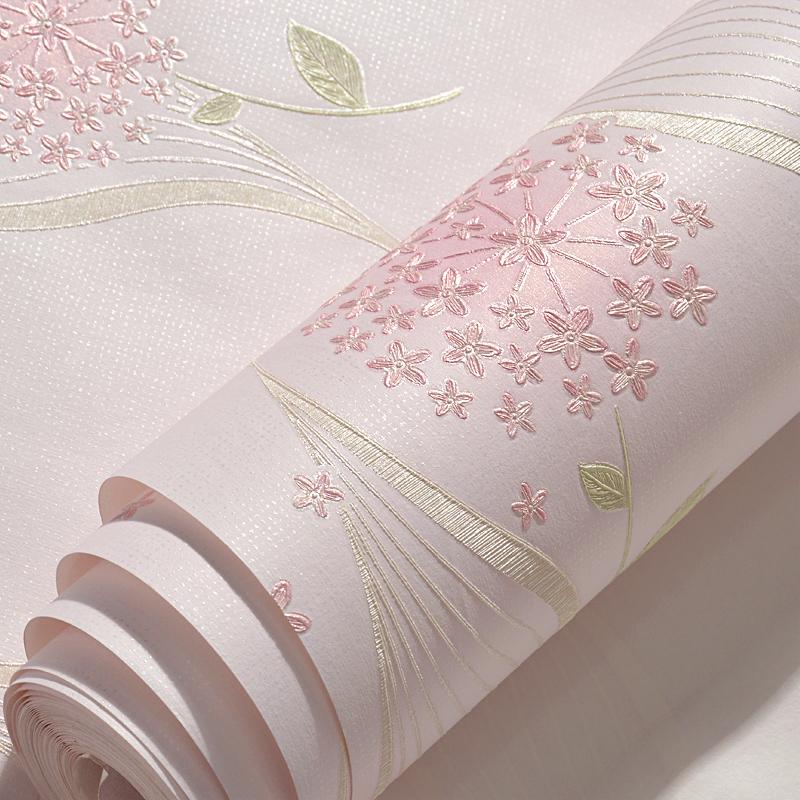 客厅卧室温馨女孩儿童房 立体壁纸无纺布墙纸 3d 精压田园