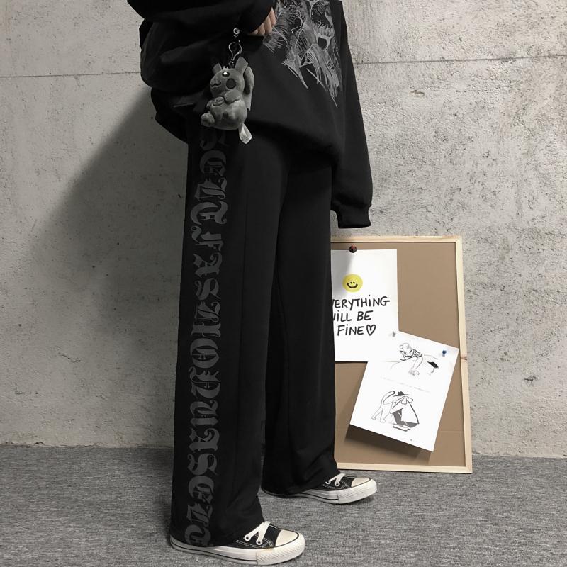 INSstudios.2021韩国ins潮流梵文字母侧边印花加绒休闲裤卫裤男女