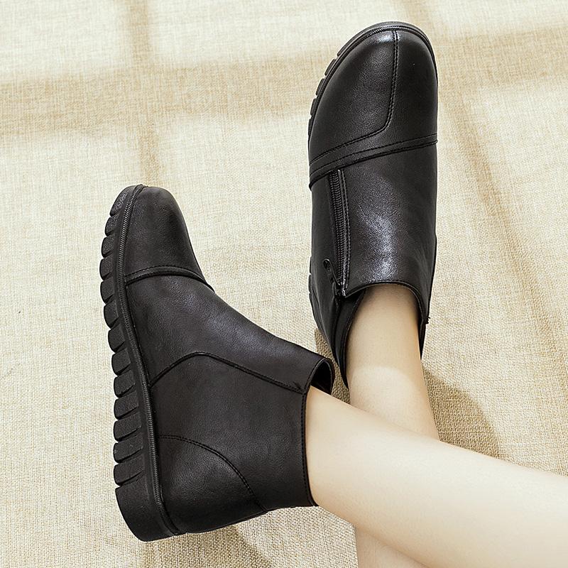 冬季妈妈棉鞋中老年女鞋平底加绒短靴中年女靴老人鞋保暖防滑皮鞋