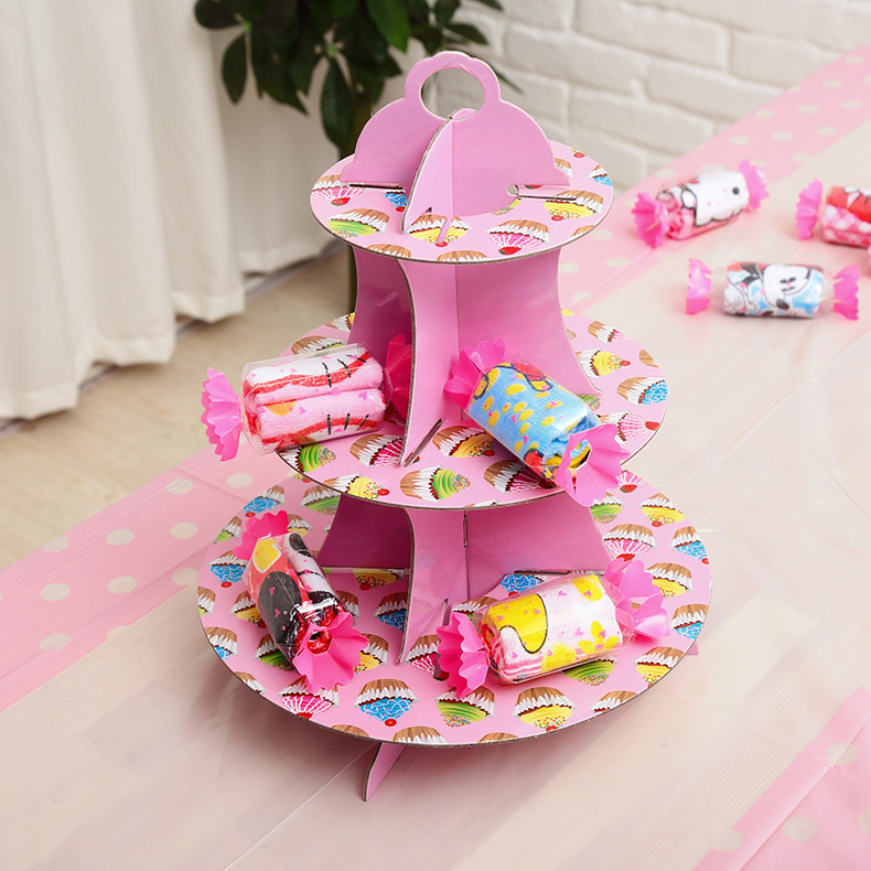 儿童生日用品三层蛋糕架聚会派对用品纸甜品台托盘装饰布置品成人
