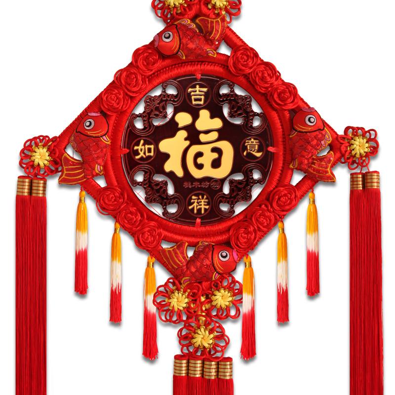 中国结挂件客厅大号挂饰桃木福字玄关家居壁挂装饰背景墙 福源祥