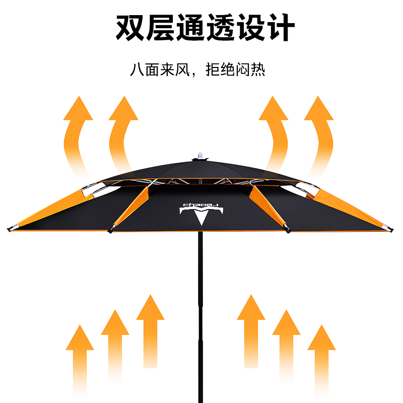 米地插加厚万向双层防雨风防晒遮阳伞垂钓渔伞 2.4 台钓鱼伞大钓伞