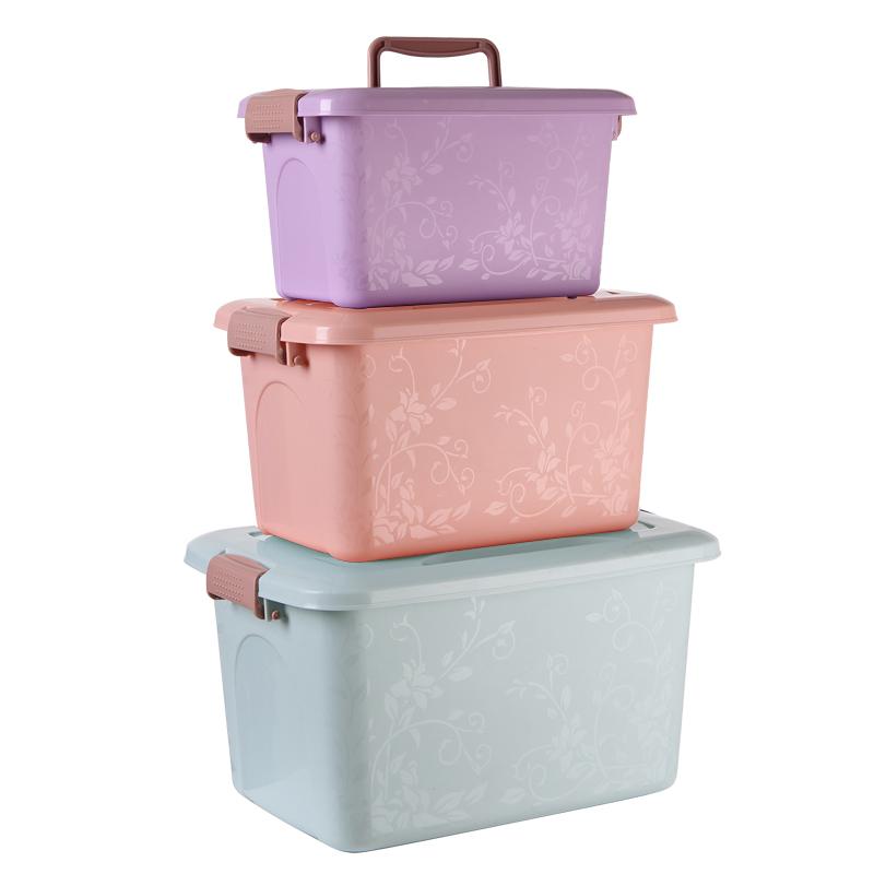 塑料零食玩具收纳箱储物箱整理箱衣柜箱化妆品收纳盒储物箱三件套