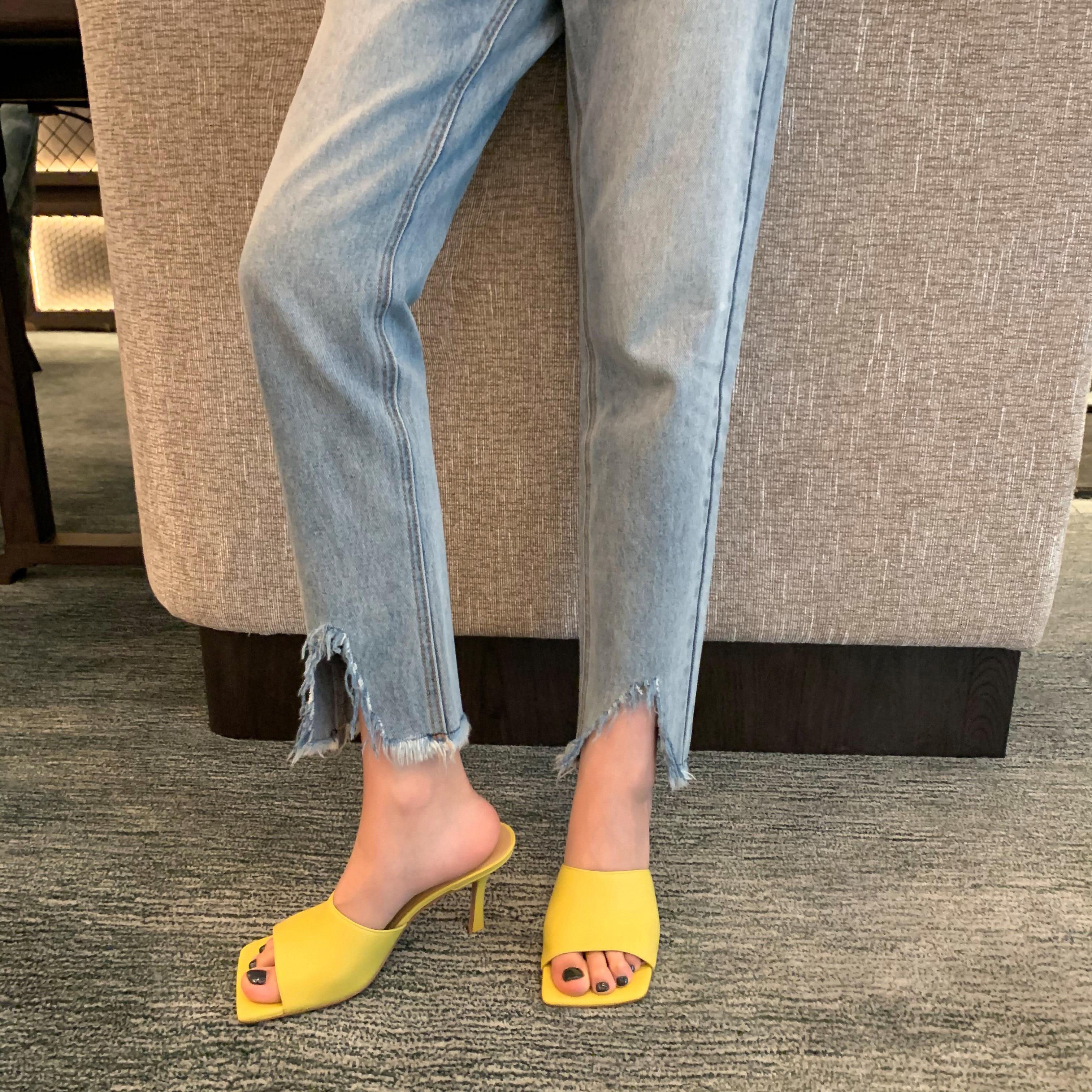 气质方头露趾细跟简约外穿高跟拖鞋女一字夏季 studiolee 葡萄妈