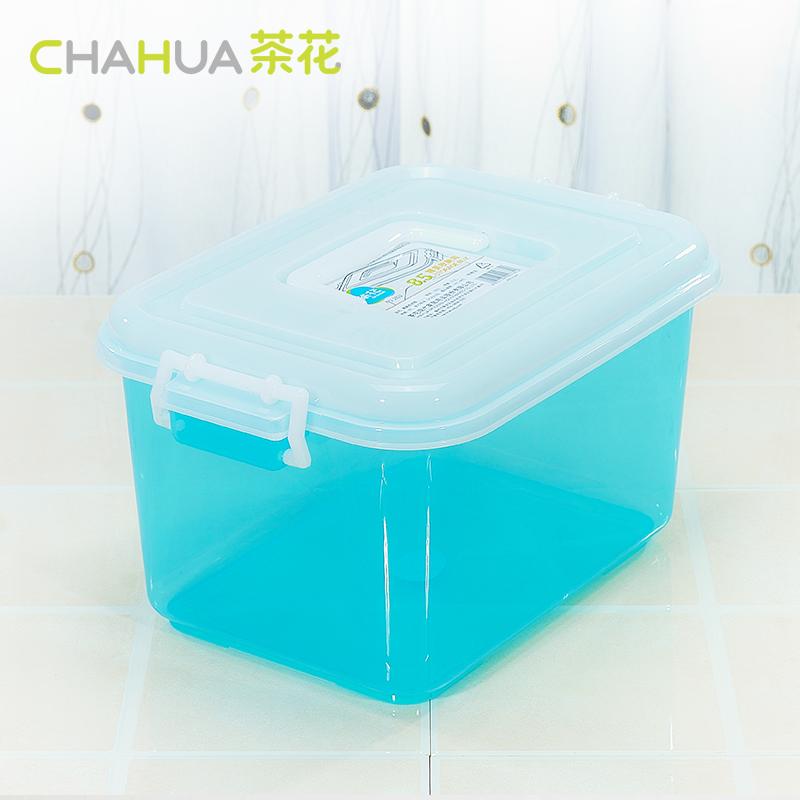 茶花透明收納盒加厚收納箱塑料儲物箱零食收納化妝品首飾收納