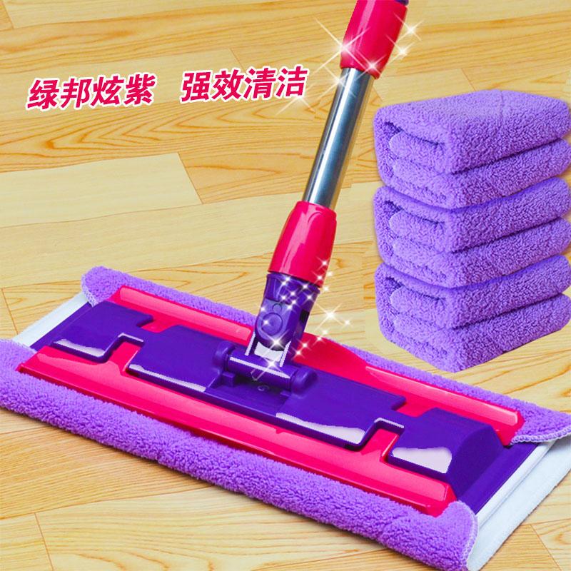 绿邦平板拖把夹毛巾实木地板拖布瓷砖地拖旋转墩布拖地家用平拖