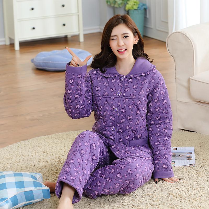 冬季夹棉睡衣女里外针织棉三层加厚加大码冬棉衣棉袄家居服套装