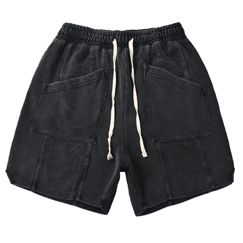 欧美高街风水洗做旧开叉拼接口袋休闲宽松短裤INS夏季潮男五分裤【图5】