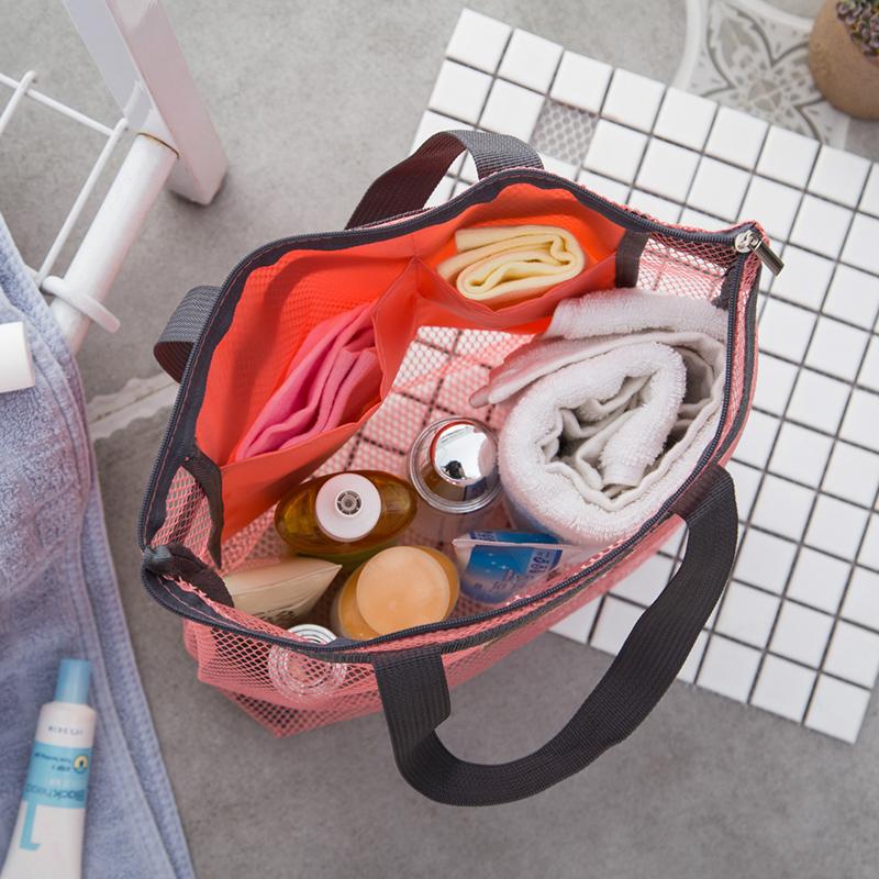 网格防水便携洗漱包手提袋旅行手提包运动健身洗澡包瑜伽沐浴包