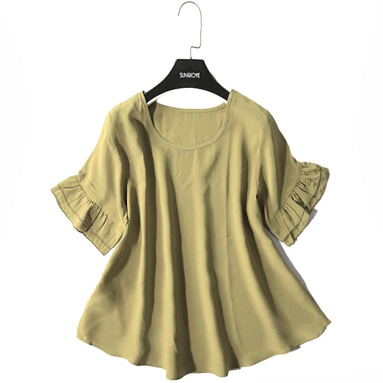荷叶袖真丝上衣女短袖T恤夏装100桑蚕丝圆领休闲上衣真丝小衫