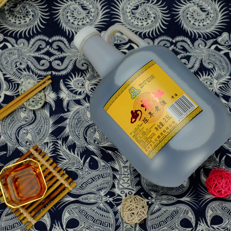斤烹饪料酒绍兴黄酒 5 年陈酿老坛分装 2 桶装糯米加饭 2.5L 女儿红花雕