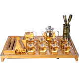 Kang Yun transparent glass cup Kung Fu Tea Set package of tea suit home minimalist modern combination tea tray