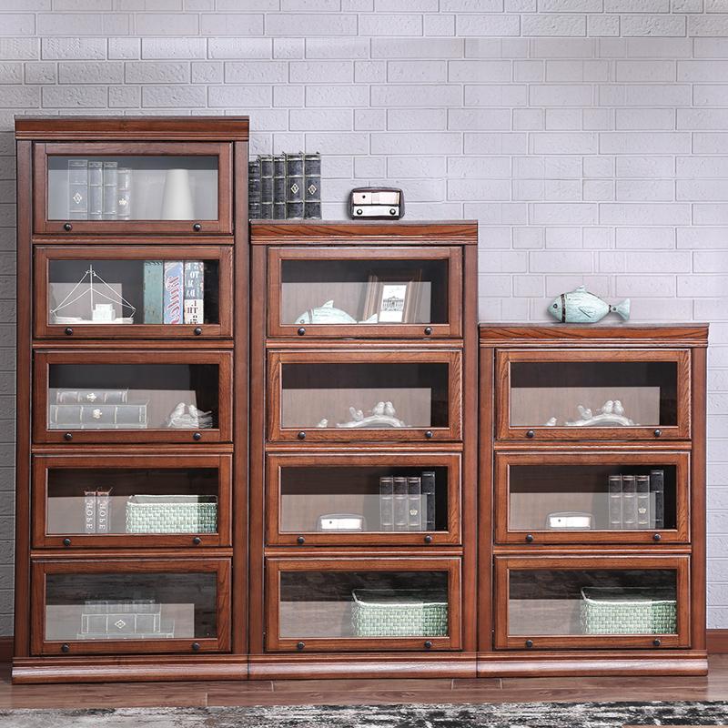 开尚 美式简约书柜书架自由组合柜子复古储物柜带玻璃门卧室书房