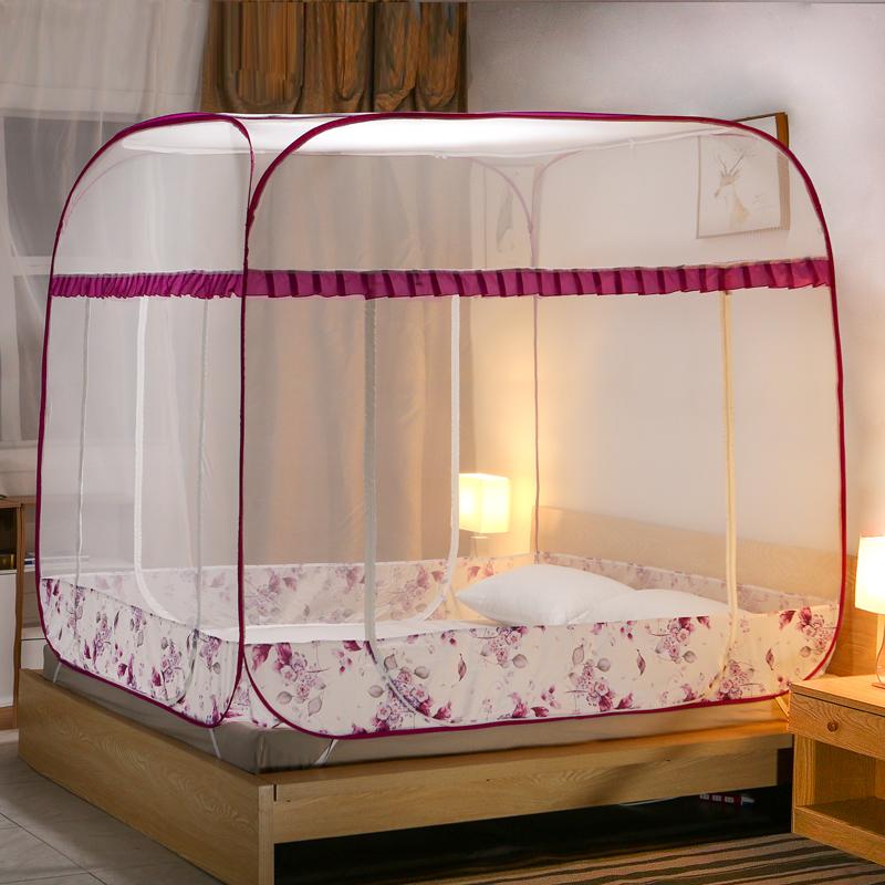含羞精灵蒙古包蚊帐家用1.2米床免安装三开门1.5/1.8m床加密加厚