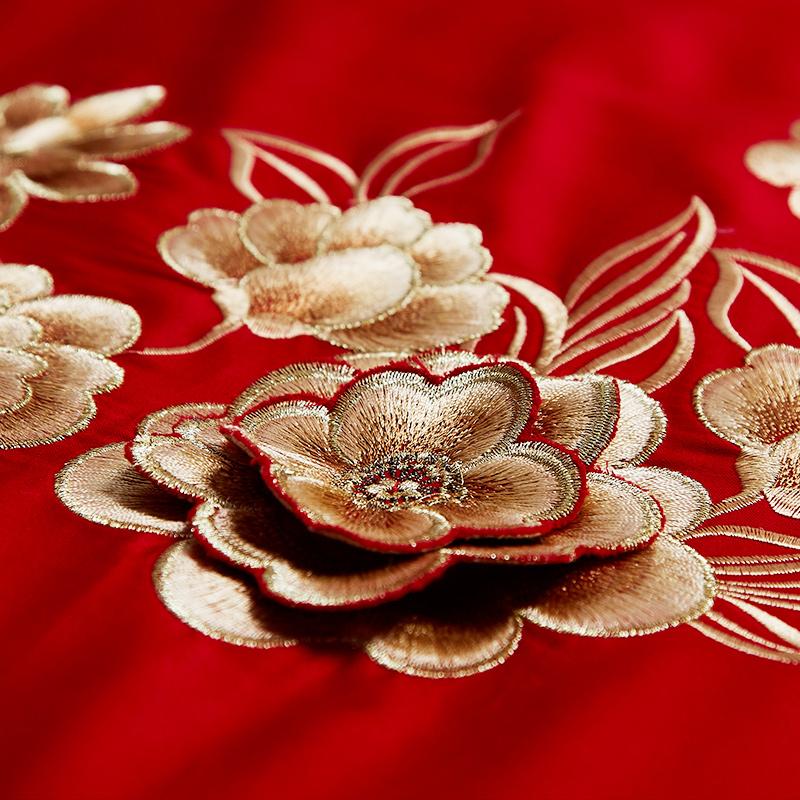南極人全棉婚慶四件套新婚床品多件套純棉被套大紅結婚房喜慶套件