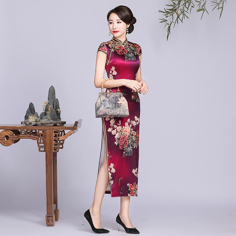 高端桑蚕丝真丝旗袍女复古中国风长款气质优雅大码改良版中式女装