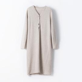 中长款羊绒毛衣裙过膝女秋冬V领羊毛针织连衣裙子加厚打底衫修身