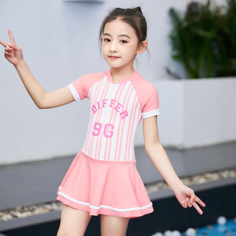 儿童泳衣女童中大童连体裙式公主可爱韩国女孩宝宝防晒小