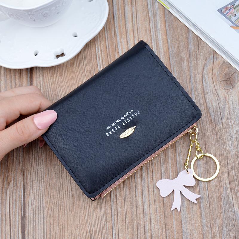 新款女士小钱包女短款韩版学生竖款两折叠拉链多功能零钱夹皮夹