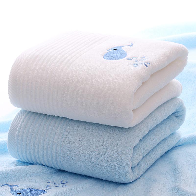 【浴巾2条装】莱朵 薰衣草浴巾纯棉成人男女情侣柔软超强吸水