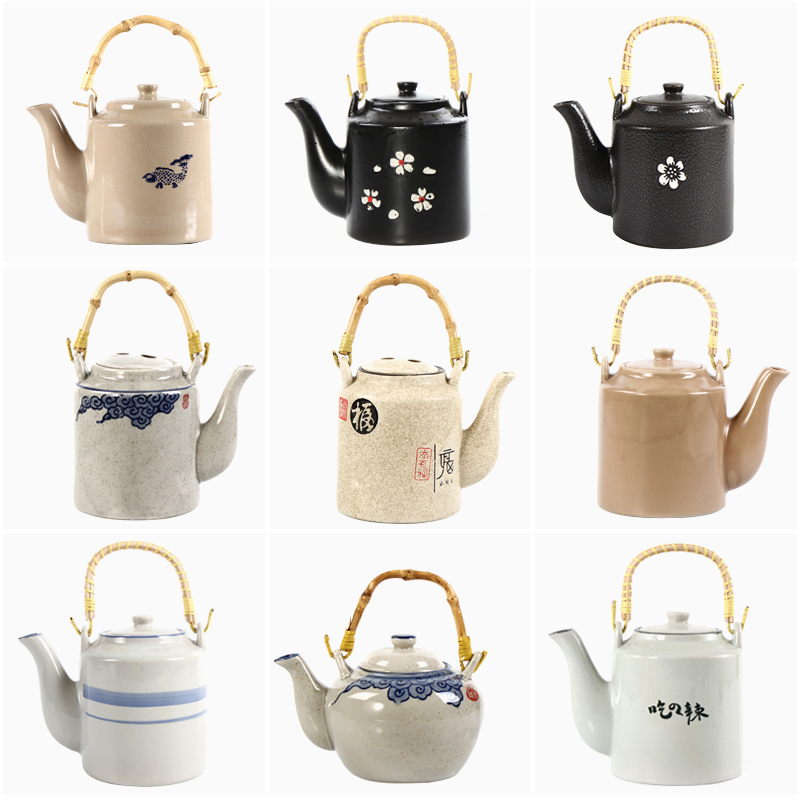 老式提樑壺陶瓷茶壺水壺復古懷舊粗陶黑色茶壺茶杯飯店開水壺促銷