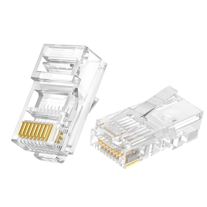 网线水晶头超5五类超6六类屏蔽网线接头对接器千兆rj45网络水晶头