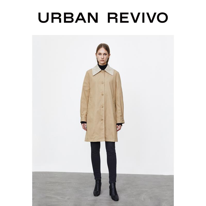 UR2020 WH48S1DN2000  冬季新品女装时尚风衣领宽松中长款风衣外套
