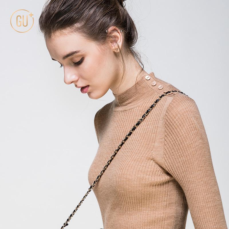 半高圆领针织衫女长袖套头修身上衣纯色纽扣装饰薄款羊毛打底衫