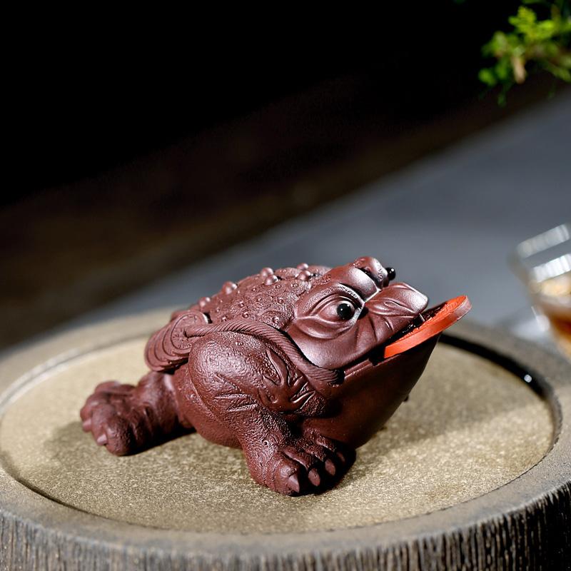 【畅陶】宜兴紫砂壶茶宠茶玩 摆件紫泥朱泥好运金蟾 单个价