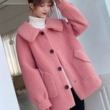 Net new anti-red lamb's wool jacket female leather one too thick wool cashmere loose straight long section