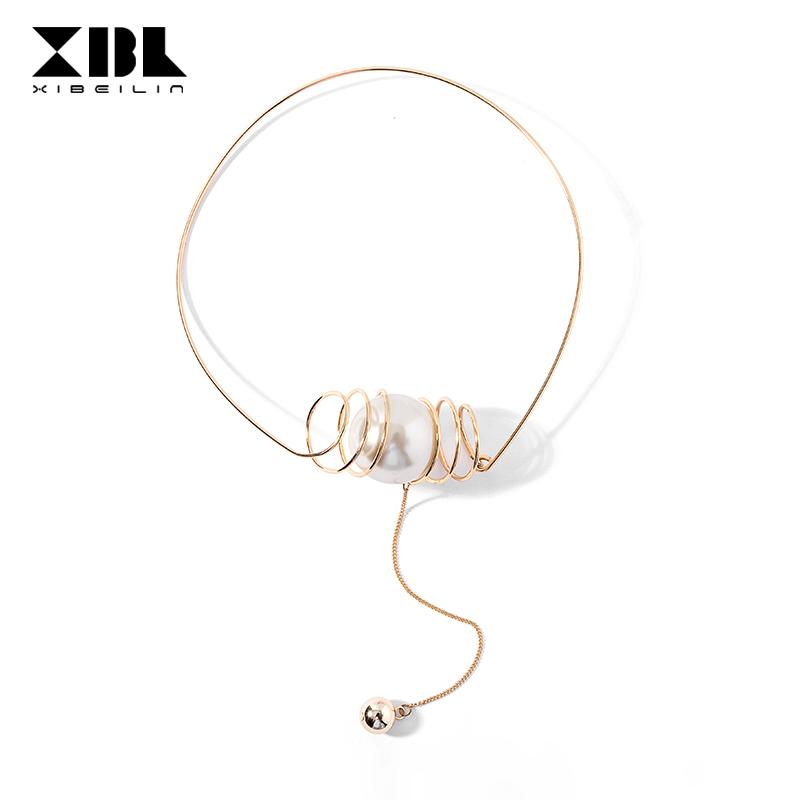 日韩夸张项圈女人造珍珠装饰品项链简约长款气质链条吊坠脖子颈圈