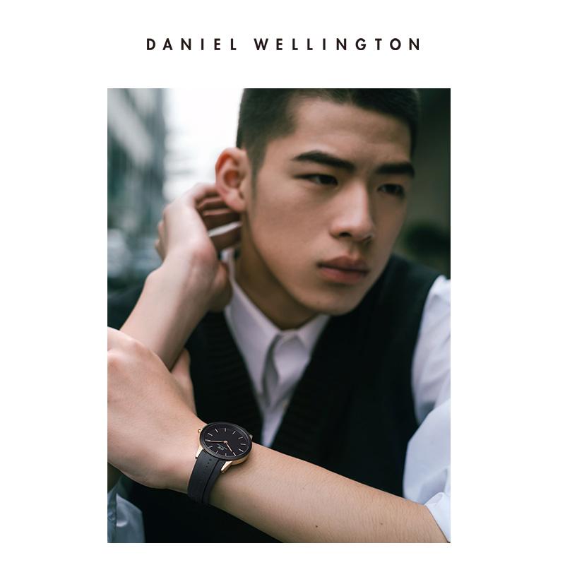 张艺兴同款 DW小黑胶手表男士 40mm商务休闲男表丹尼尔惠灵顿官方