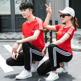 Sports suit male and female lovers summer short-sleeved track suit trousers sportswear big yards running fitness clothing uniforms