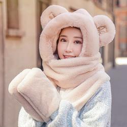 小熊帽子手套一体围巾