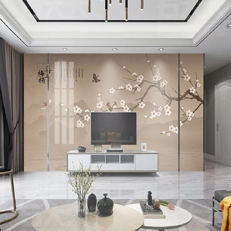新中式工笔花鸟电视背景墙壁纸简约现代装饰墙纸客厅影视墙布壁画
