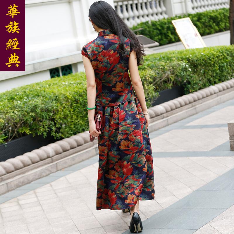 华族经典真丝桑蚕丝唐装套装女复古时尚民国风改良旗袍上衣短袖夏