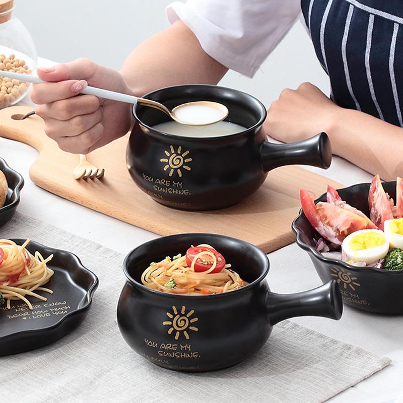 日式創意帶手把陶瓷泡麵碗烤碗情侶碗烘焙烤碗可愛早餐碗飯碗湯碗