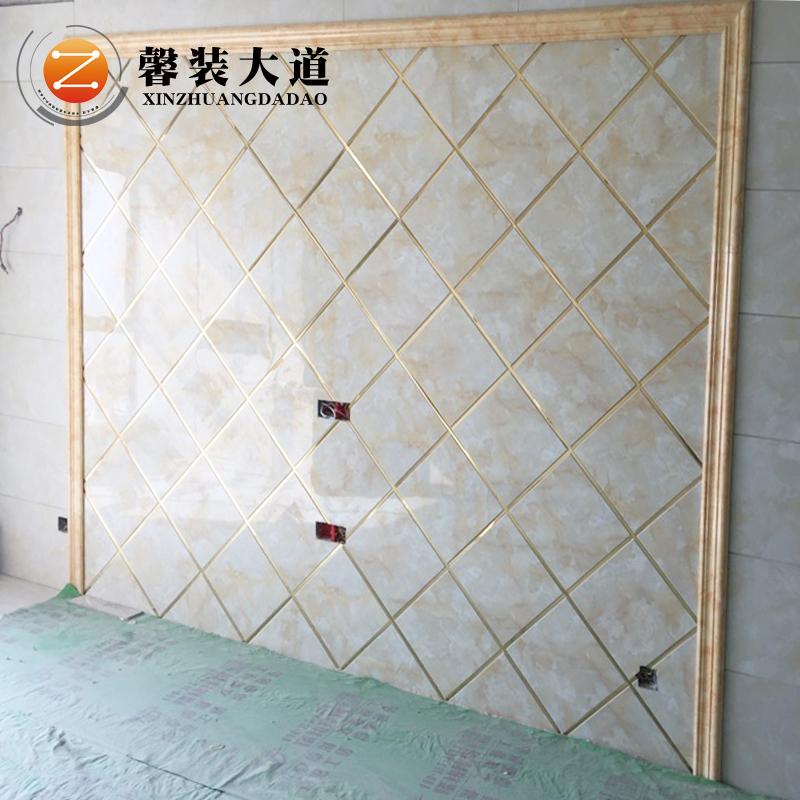 电视背景墙瓷砖电视墙造型边框仿大理石材现代简约客厅影视墙大气