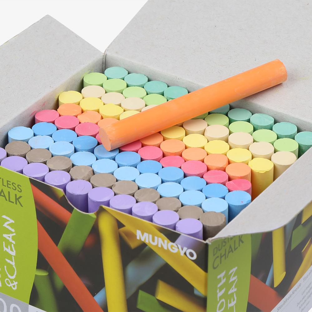 官方正品韩国进口MUNGYO 盟友彩色粉笔 无毒无尘粉笔 100支装儿童黑板公考教师课堂学生10支装彩色/白色粉笔