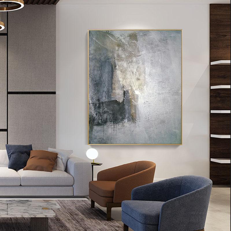 纯手绘油画北欧风格装饰画后现代简约壁画客厅大幅玄幻挂画大尺寸